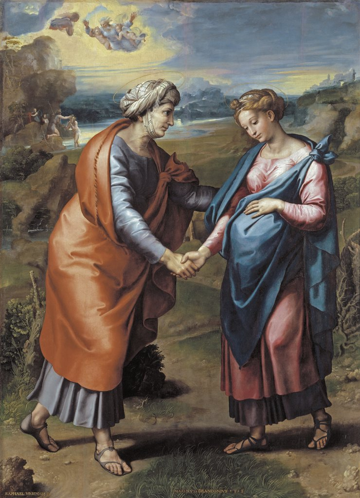 Stock Photo: 4266-16474 Raphael (1483-1520) Museo del Prado, Madrid Painting 200x145 Bible  The Visitation