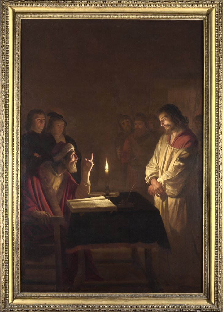 Stock Photo: 4266-16532 Honthorst, Gerrit, van (1590-1656) National Gallery, London Painting 272x183 Bible  Christ before the High Priest