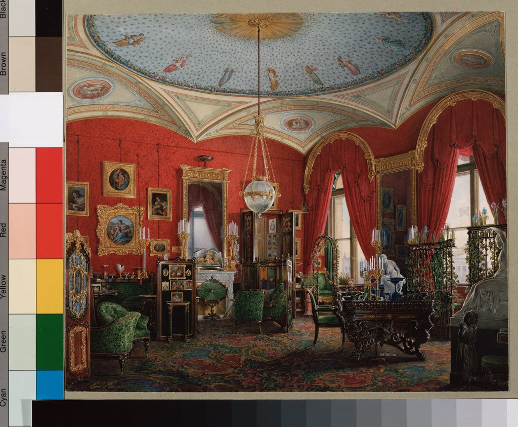 Stock Photo: 4266-16540 Hau, Eduard (1807-1887) State Hermitage, St. Petersburg Painting Architecture, Interior  The study of Empress Maria Alexandrovna in the Winter palast