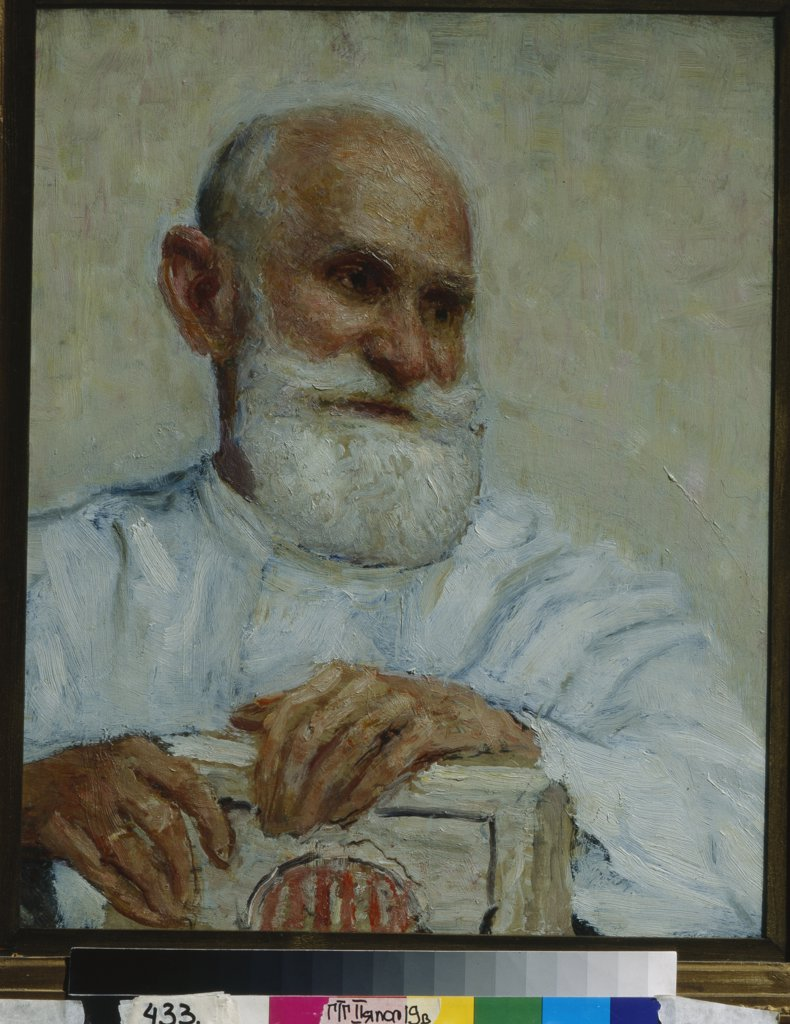 Repin, Ilya Yefimovich (1844-1930) State Tretyakov Gallery, Moscow Painting 54,4x48 Portrait  Portrait of the physiologist, psychologist, and physician Ivan P. Pavlov (1849-1936) : Stock Photo