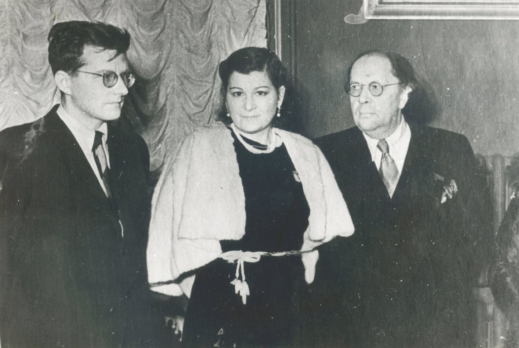 Stock Photo: 4266-16575 The Composer Dmitri Shostakovich, singer Maria Maksakova and writer Aleksey Tolstoy by Russian Photographer  /Russian State Archive of Literature and Art, Moscow/1943/Photograph/Russia/Portrait