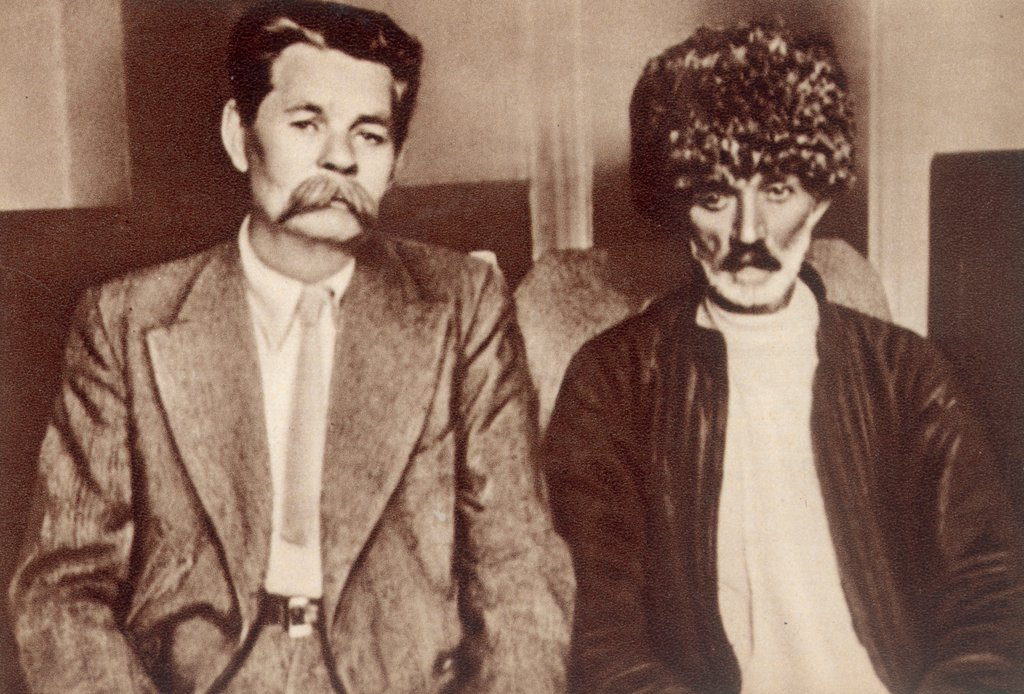 Maxim Gorky and Suleiman Stalsky on the First Congress of Soviet Writers in August 1934 by Anonymous  /Russian State Archive of Literature and Art, Moscow/1934/Photograph/Russia/Portrait,History : Stock Photo