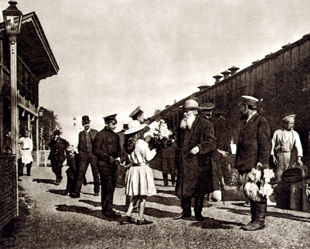 Leo Tolstoy and his granddaughter at the railway station Krekshino by Anonymous  /State Museum of Leo Tolstoy, Moscow/1909/Photograph/Russia/Genre : Stock Photo