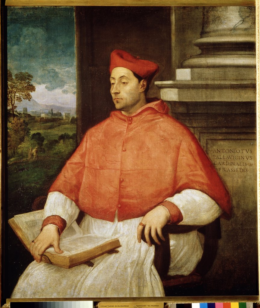 Cardinal Antonio Pallavicini by Titian, oil on canvas, 1488-1576, Russia, Moscow, State A. Pushkin Museum of Fine Arts, 131x115 : Stock Photo