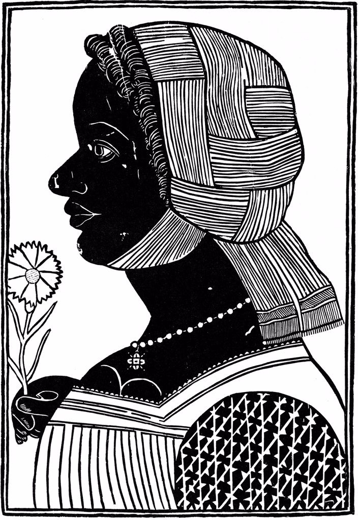 Woman head profile by Italian master, woodcut, 15th century, Russia, Moscow, State A. Pushkin Museum of Fine Arts : Stock Photo