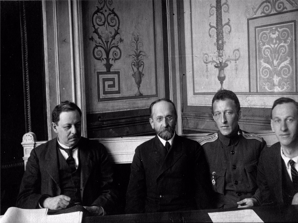 Stock Photo: 4266-17137 The Poet Alexander Blok with members of the Extraordinary ruling comission by Russian Photographer  /The State Museum of A.S. Pushkin, Moscow/1917/Photograph/Russia/Portrait