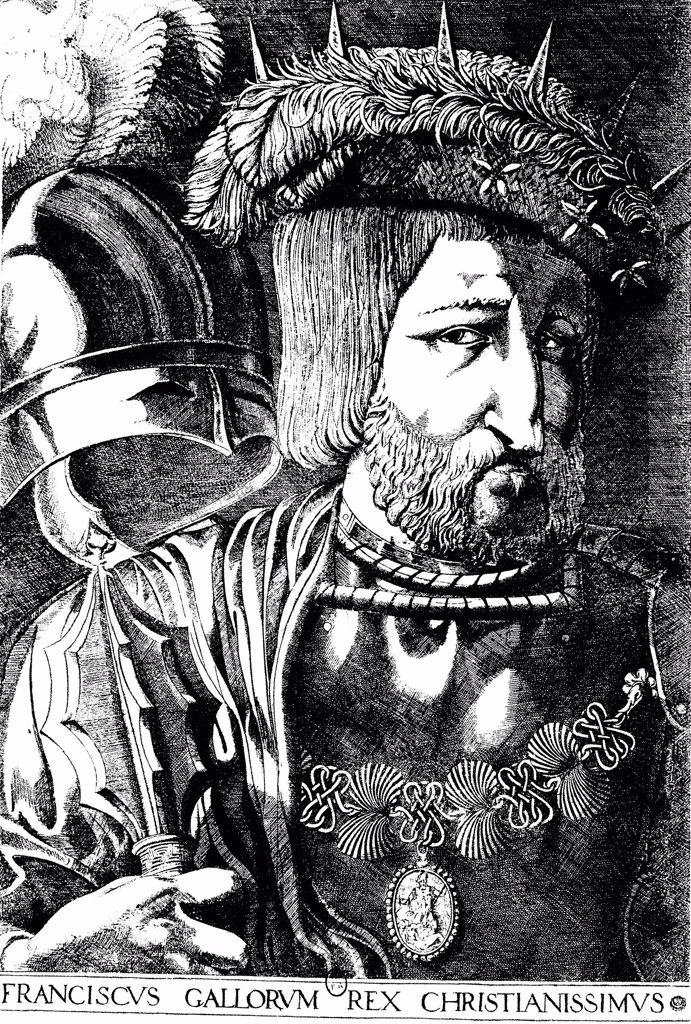 Stock Photo: 4266-1715 Francis I of France by Jacques Prevost, woodcut, 1536, 1521-1580, Russia, Moscow, State A. Pushkin Museum of Fine Arts