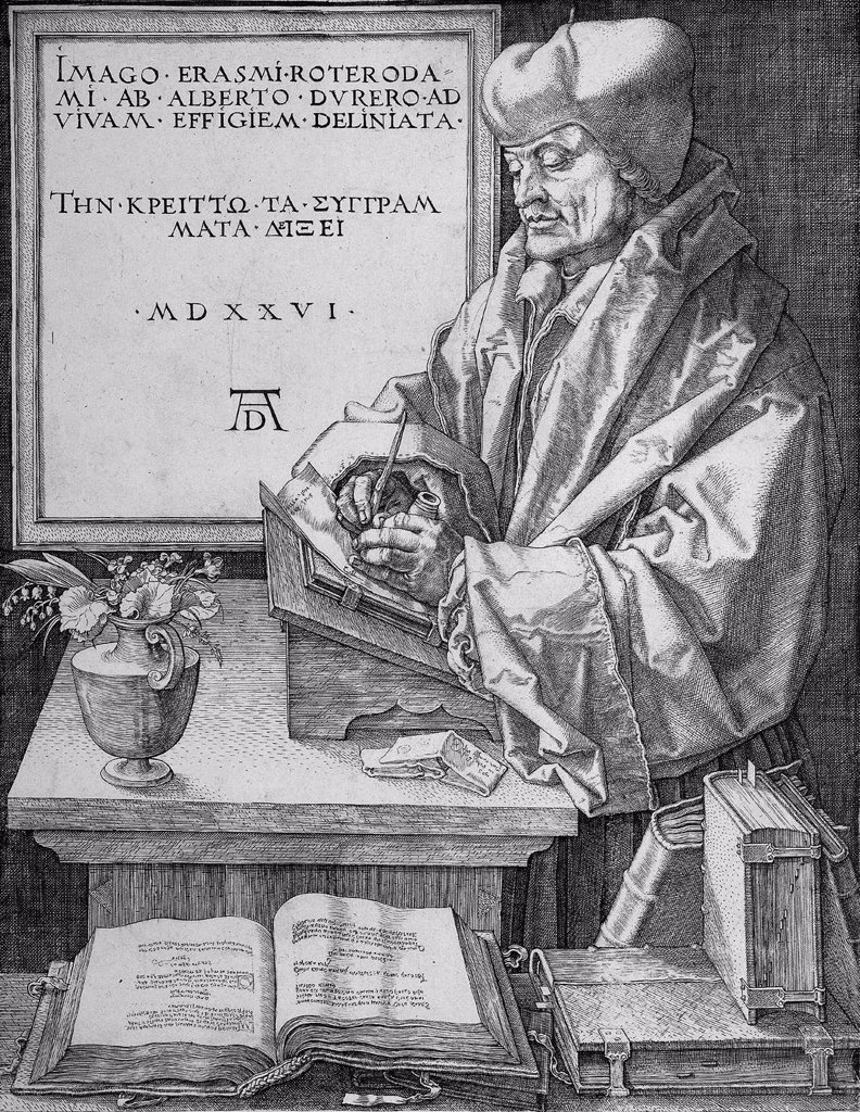 Erasmus of Rotterdam by Albrecht Durer, woodcut, 1526, 1471-1528, Russia, Moscow, State A. Pushkin Museum of Fine Arts : Stock Photo