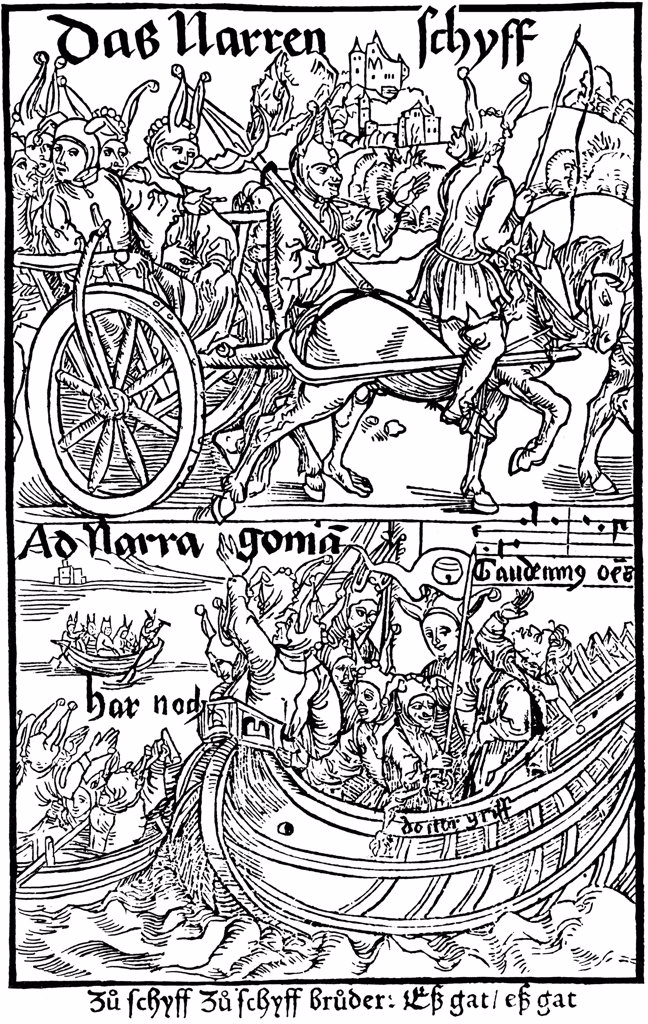 Book illustration to Ship of Fools by Albrecht Durer, woodcut, 1494, 1471-1528, Russia, Moscow, State A. Pushkin Museum of Fine Arts : Stock Photo