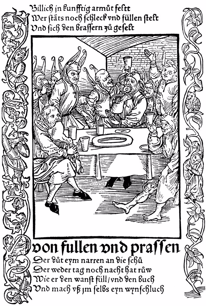 Stock Photo: 4266-1754 Book illustration by Albrecht Durer, woodcut, 1494, 1471-1528, Russia, Moscow, State A. Pushkin Museum of Fine Arts