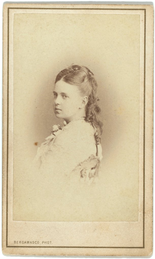 Stock Photo: 4266-17575 Portrait of Grand Duchess Maria Alexandrovna of Russia (1853-1920), Duchess of Saxe-Coburg and Gotha by Bergamasco, Charles (Karl) (1830_1896)/Private Collection/Albumin Photo/Russia/Portrait,Tsar's Family. House of Romanov