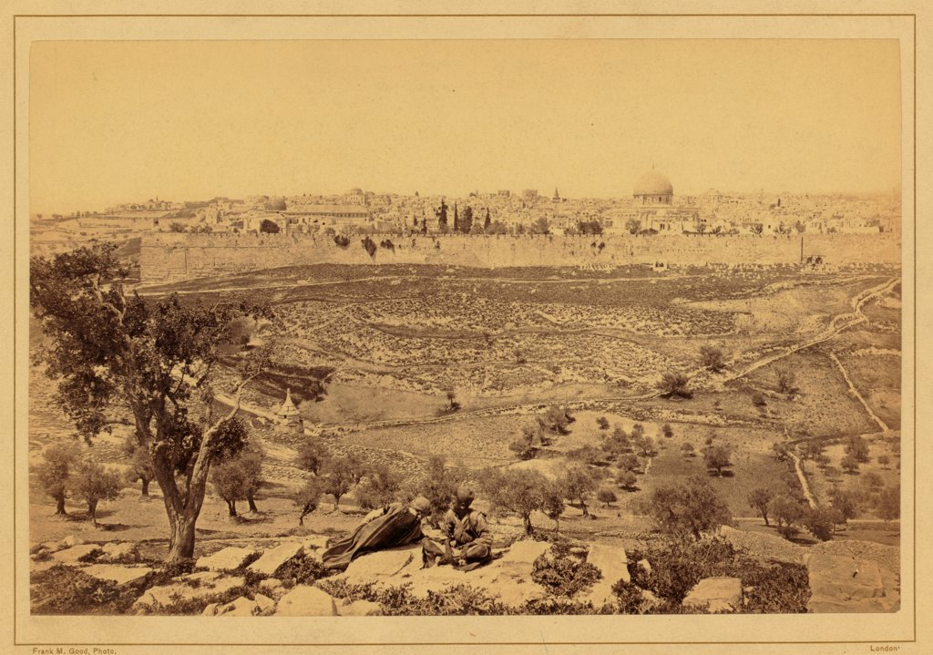 Stock Photo: 4266-17617 View of the City of Jerusalem from the Mount of Olives by Anonymous  /Private Collection/Between 1860 and 1880/Albumin Photo/Landscape