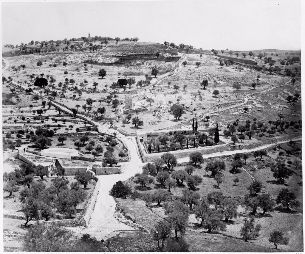 The Tomb of Mary. The Mount of Olives, Gethsemane by Anonymous  /Private Collection/Between 1860 and 1880/Albumin Photo/Landscape,History : Stock Photo