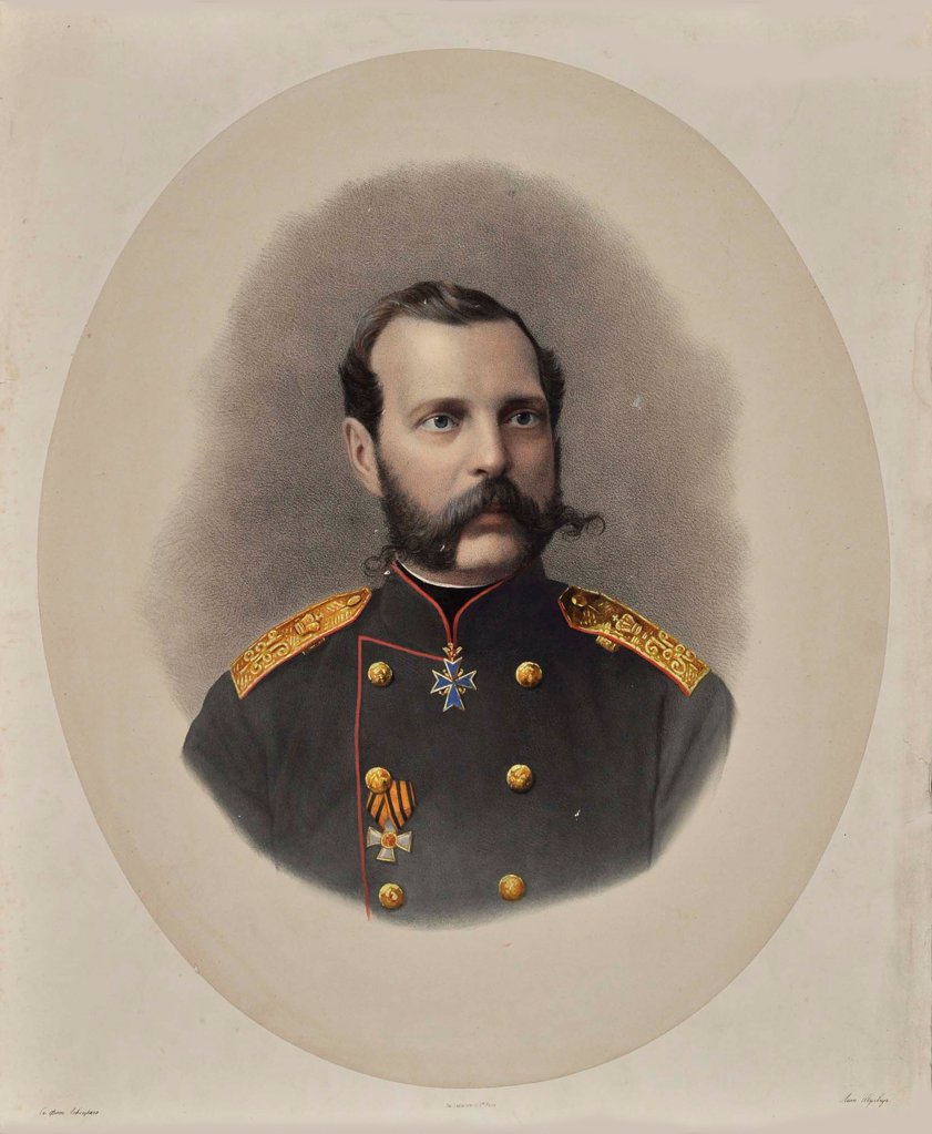 Stock Photo: 4266-17652 Portrait of Emperor Alexander II of Russia (1818-1881) by Levitsky, Sergei Lvovich (1819-1898)/The Russian State Library, Moscow/1860s/Colour Lithography/Russia/Portrait,Tsar's Family. House of Romanov