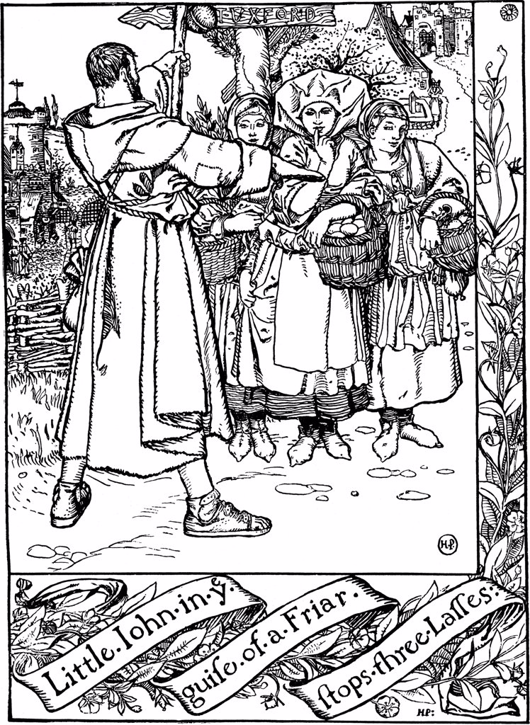Robin Hood by Howard Pyle, woodcut, 1883, 1853-1911, Russia, Moscow, Russian State Library : Stock Photo