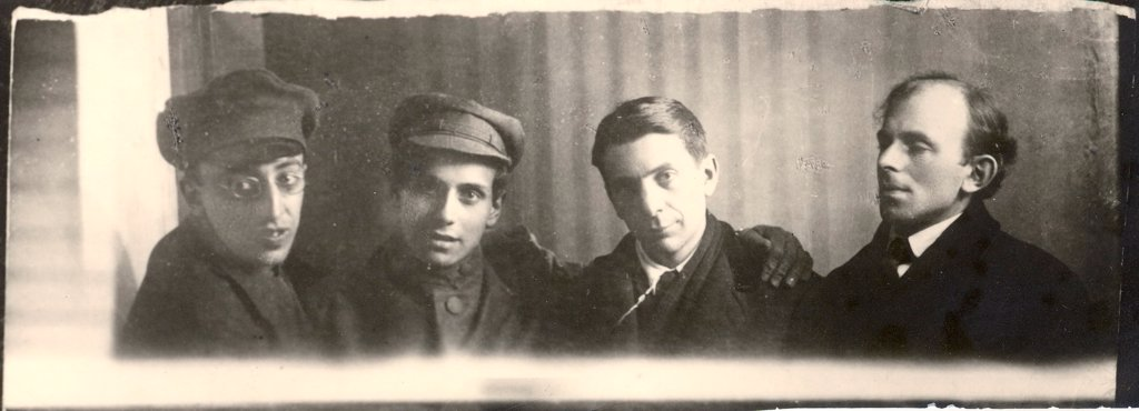 Stock Photo: 4266-17716 Osip Mandelstam with Alexander Mandelstam, David Milman und Ryurik Ivnev by Anonymous  /Russian State Archive of Literature and Art, Moscow/1919/Photograph/Russia/Portrait