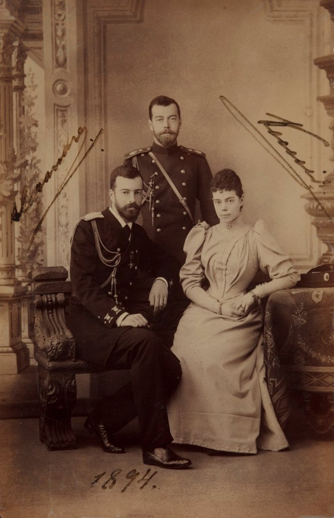 Stock Photo: 4266-17725 Emperor Nicholas II with Grand Duke Alexander Mikhailovich of Russia and his wife, Grand Duchess Xenia Alexandrovna of Russia by Anonymous  /Private Collection/1894/Photograph/Russia/Portrait