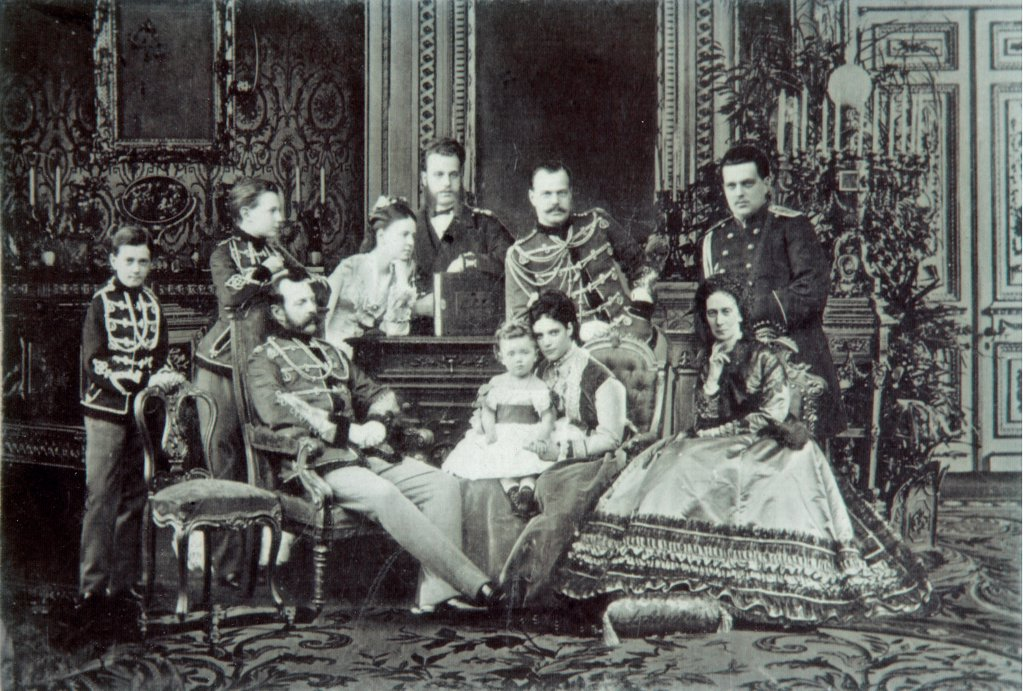 Family Portrait of Emperor Alexander II (1818-1881) by Russian Photographer  /Private Collection/1860s/Albumin Photo/Russia/Tsar's Family. House of Romanov : Stock Photo