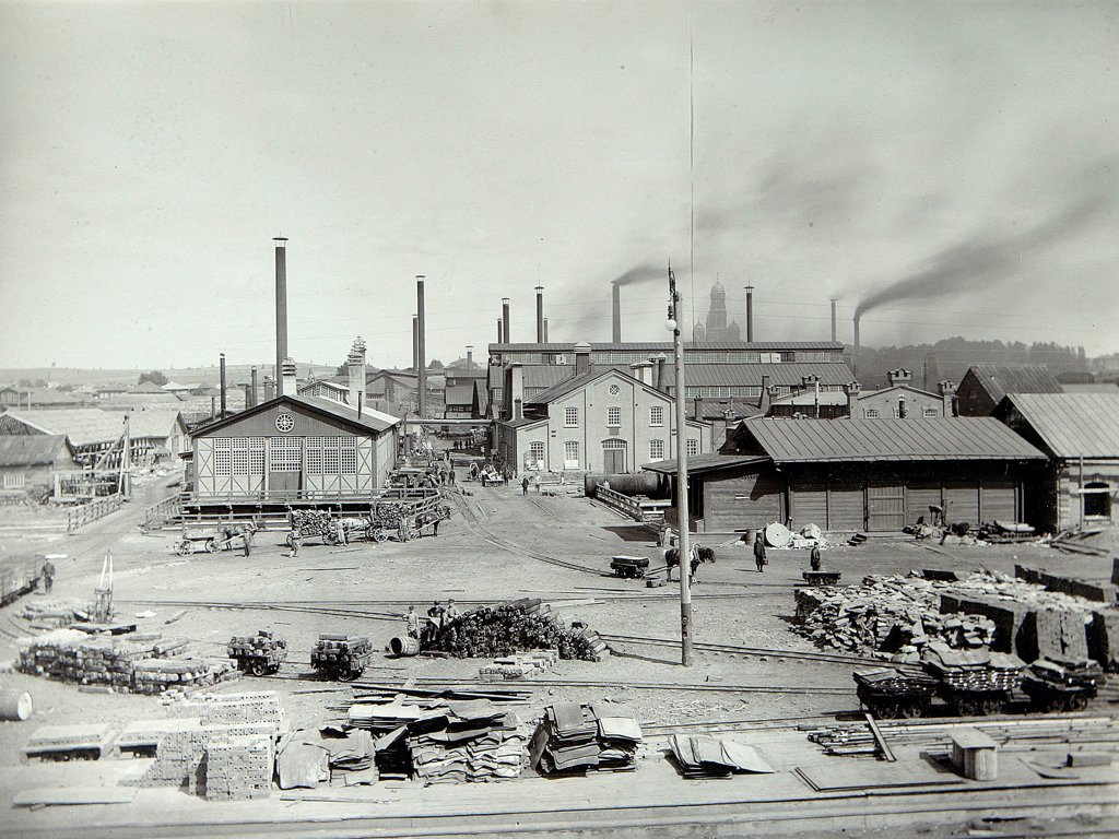 Stock Photo: 4266-18094 The Lysva iron foundry by Russian Photographer  /Institute for the History of Material Culture, St. Petersburg/1900s/Silver Gelatin Photography/Russia/Landscape,History
