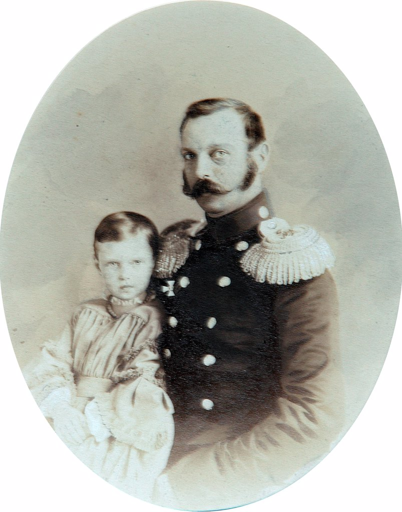 Stock Photo: 4266-18204 Portrait of Emperor Alexander II (1818-1881) with Daughter, Grand Duchess Maria Alexandrovna of Russia (1853-1920) by Deniere, Andrei (Heinrich-Johann) (1820-1892)/Private Collection/End of 1850s/Salt paper photo, sepia and white colour/Russia/Tsar's Fami