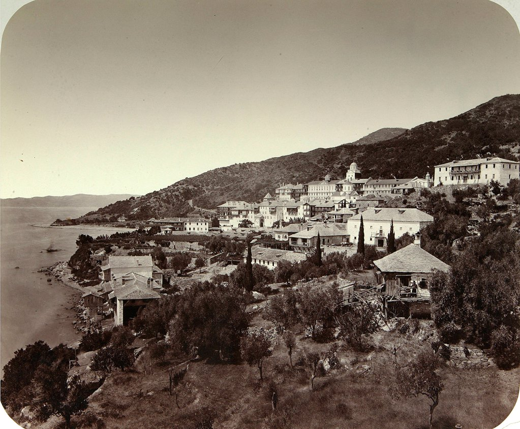 Stock Photo: 4266-18260 The Rossikon (St. Panteleimon Monastery) on Mt. Athos in Greece by Russian Photographer  /Institute for the History of Material Culture, St. Petersburg/1860s-1870s/Albumin Photo/Russia/Architecture, Interior