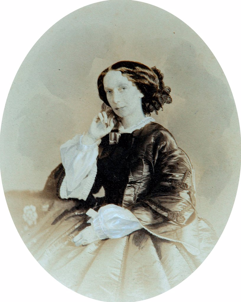 Portrait of Empress Maria Alexandrovna of Russia (1824-1880) by Deniere, Andrei (Heinrich-Johann) (1820-1892)/Private Collection/End of 1850s/Salt paper photo, sepia and white colour/Russia/Tsar's Family. House of Romanov : Stock Photo