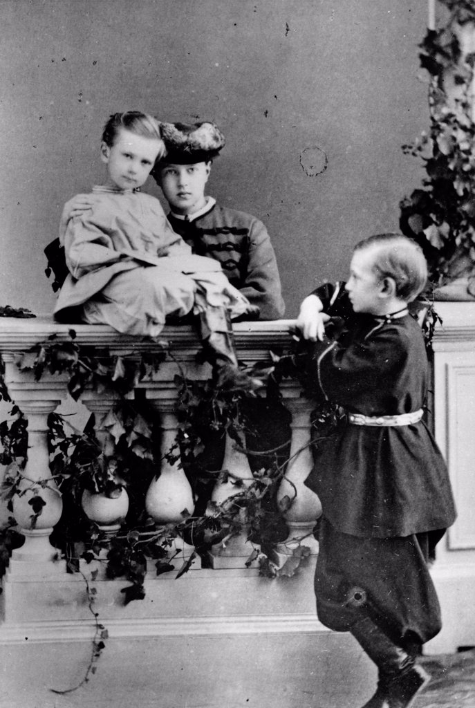 The Children of Emperor Alexander II of Russia by Russian Photographer  /Russian State Film and Photo Archive, Krasnogorsk/1863-1865/Albumin Photo/Russia/Tsar's Family. House of Romanov : Stock Photo