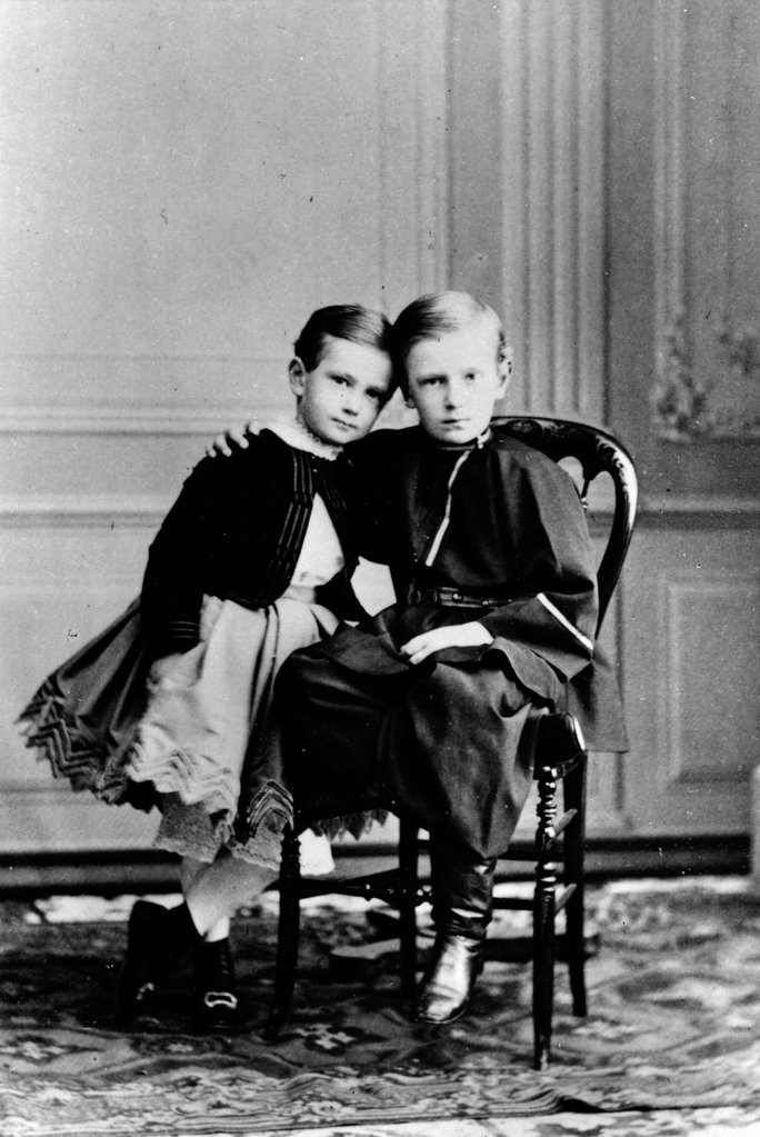 The Children of Emperor Alexander II of Russia: Grand Duke Sergei Alexandrovich and Grand Duke Paul Alexandrovitch by Russian Photographer  /Russian State Film and Photo Archive, Krasnogorsk/1863-1865/Albumin Photo/Russia/Tsar's Family. House of Romanov : Stock Photo