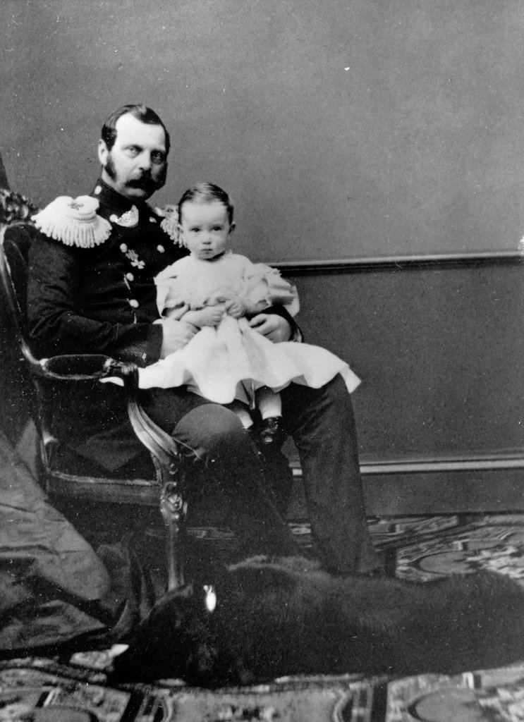 Portrait of Emperor Alexander II of Russia (1818-1881) with son, Grand Duke Paul Alexandrovitch of Russia (1860-1919) by Russian Photographer  /Russian State Film and Photo Archive, Krasnogorsk/1860-1863/Albumin Photo/Russia/Tsar's Family. House of Romano : Stock Photo