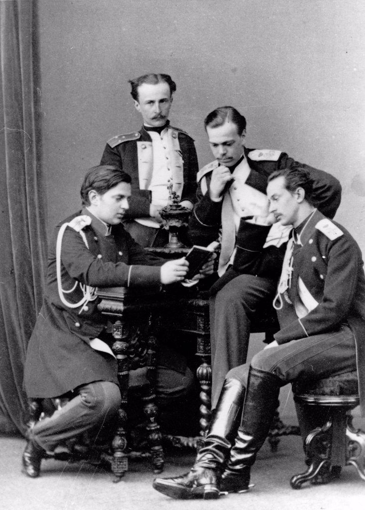 Grand Duke Alexander with brother Vladimir and cousins Nicholas Maximilianovich and Sergei Maximilianovich of Leuchtenberg by Levitsky, Sergei Lvovich (1819-1898)/Russian State Film and Photo Archive, Krasnogorsk/Albumin Photo/Russia/Tsar's Family. House : Stock Photo