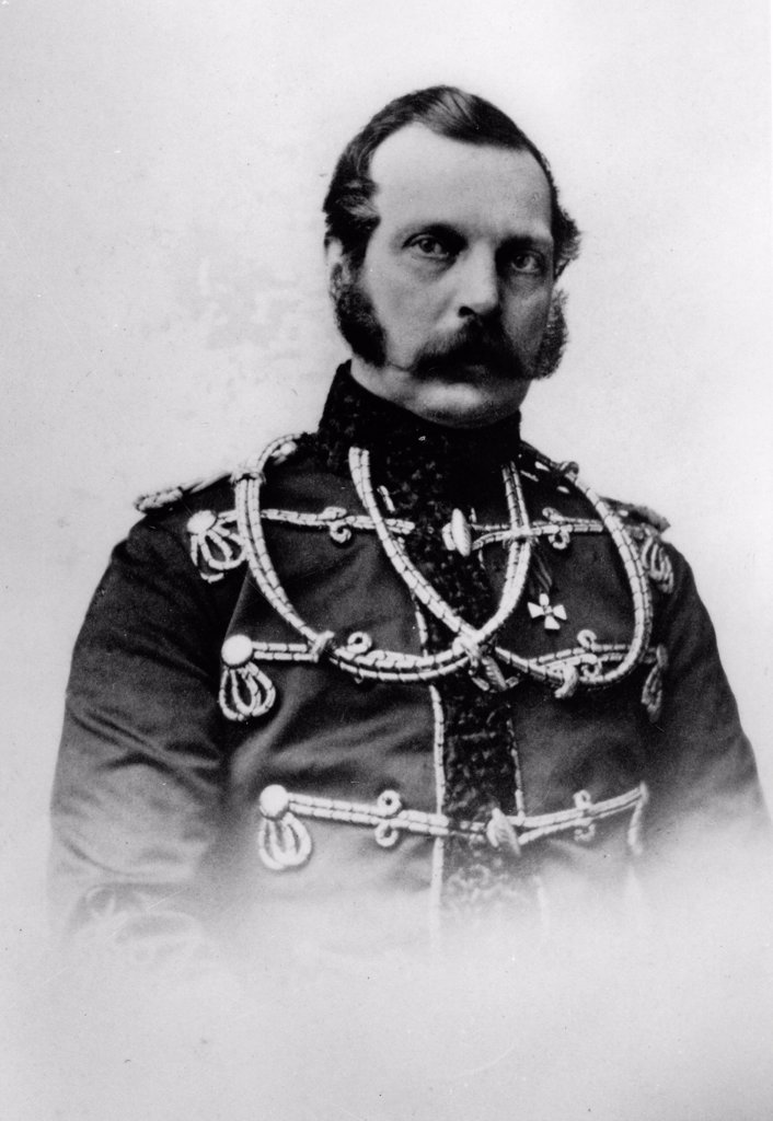 Portrait of Emperor Alexander II of Russia (1818-1881) by Russian Photographer  /Russian State Film and Photo Archive, Krasnogorsk/Albumin Photo/Russia/Tsar's Family. House of Romanov : Stock Photo
