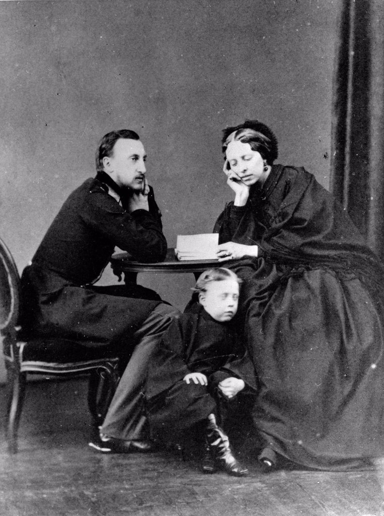 Grand Duke Nicholas Nikolaevich (the Elder) of Russia (1831-1891) with his wife, Grand Duchess Alexandra of Oldenburg (1838-1900 by Russian Photographer  /Russian State Film and Photo Archive, Krasnogorsk/1861-1863/Albumin Photo/Russia/Tsar's Family. Hous : Stock Photo