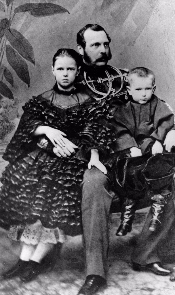 Stock Photo: 4266-18592 Portrait of Emperor Alexander II of Russia (1818-1881) with daughter Maria and son Sergei by Russian Photographer  /Russian State Film and Photo Archive, Krasnogorsk/1860-1862/Albumin Photo/Russia/Tsar's Family. House of Romanov