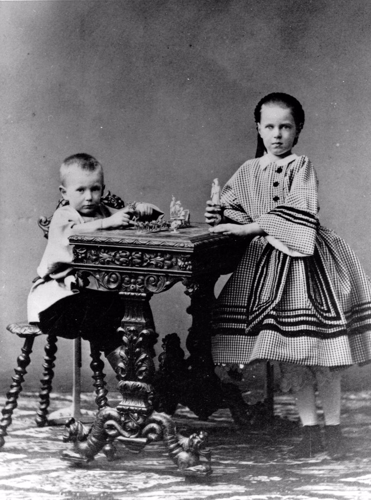 Stock Photo: 4266-18598 Grand Duchess Maria Alexandrovna of Russia (1853-1920) and Grand Duke Sergei Alexandrovitch of Russia (1857-1905) by Russian Photographer  /Russian State Film and Photo Archive, Krasnogorsk/1860/Albumin Photo/Russia/Tsar's Family. House of Romanov
