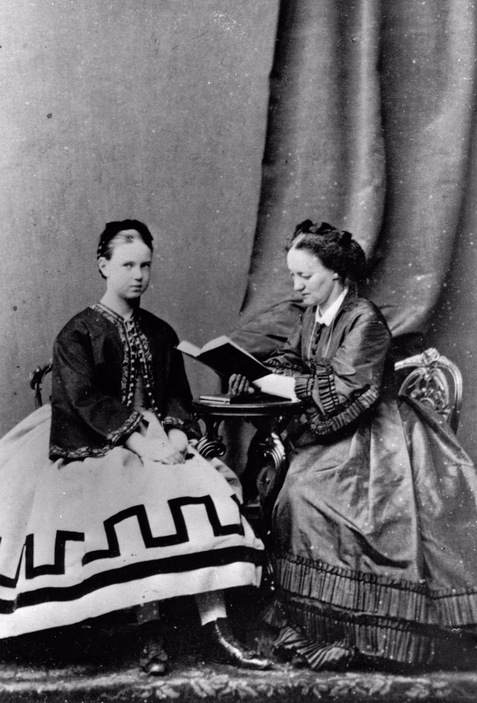 Stock Photo: 4266-18621 Grand Duchess Maria Alexandrovna of Russia (1853-1920) with Anna Tyutcheva, Daughter of Poet Fyodor Tyutchev by Russian Photographer  /Russian State Film and Photo Archive, Krasnogorsk/1864/Albumin Photo/Russia/Tsar's Family. House of Romanov