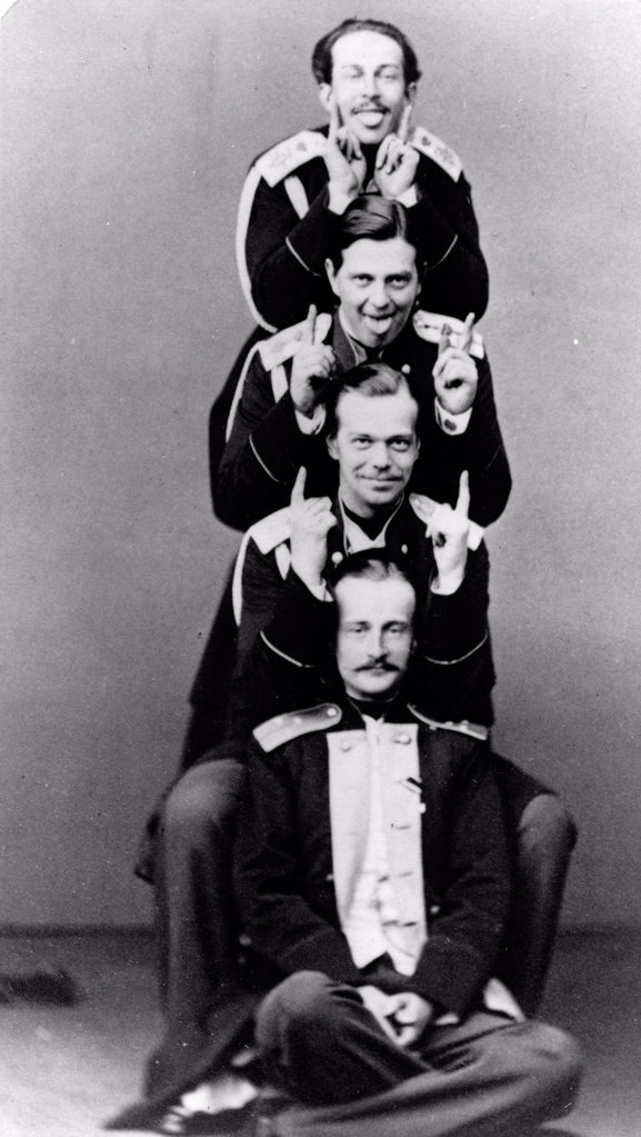 Stock Photo: 4266-18624 Grand Duke Alexander with brother Vladimir and cousins Nicholas Maximilianovich and Sergei Maximilianovich of Leuchtenberg by Levitsky, Sergei Lvovich (1819-1898)/Russian State Film and Photo Archive, Krasnogorsk/Albumin Photo/Russia/Tsar's Family. House
