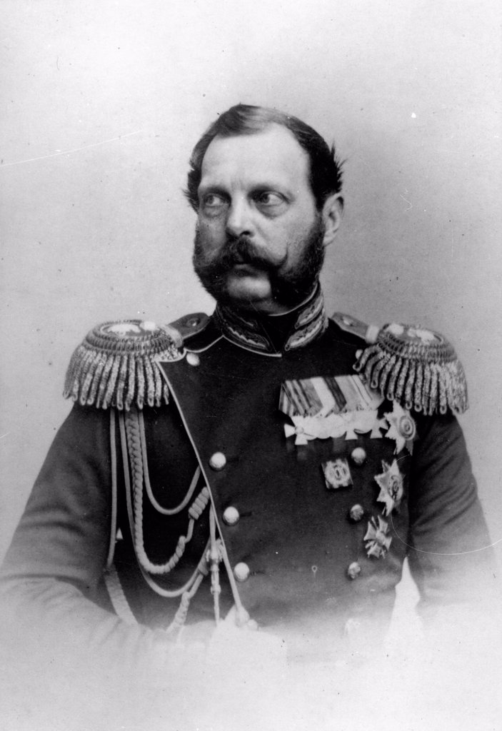 Stock Photo: 4266-18630 Portrait of Emperor Alexander II of Russia (1818-1881) by Deniere, Andrei (Heinrich-Johann) (1820-1892)/Russian State Film and Photo Archive, Krasnogorsk/Albumin Photo/Russia/Tsar's Family. House of Romanov