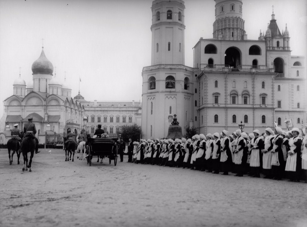 Stock Photo: 4266-18633 Tsar Nicholas II receives the parade of the pupils of Moscow in the Kremlin by Photo studio K. von Hahn  /Russian State Film and Photo Archive, Krasnogorsk/1912/Silver Gelatin Photography/Russia/Tsar's Family. House of Romanov