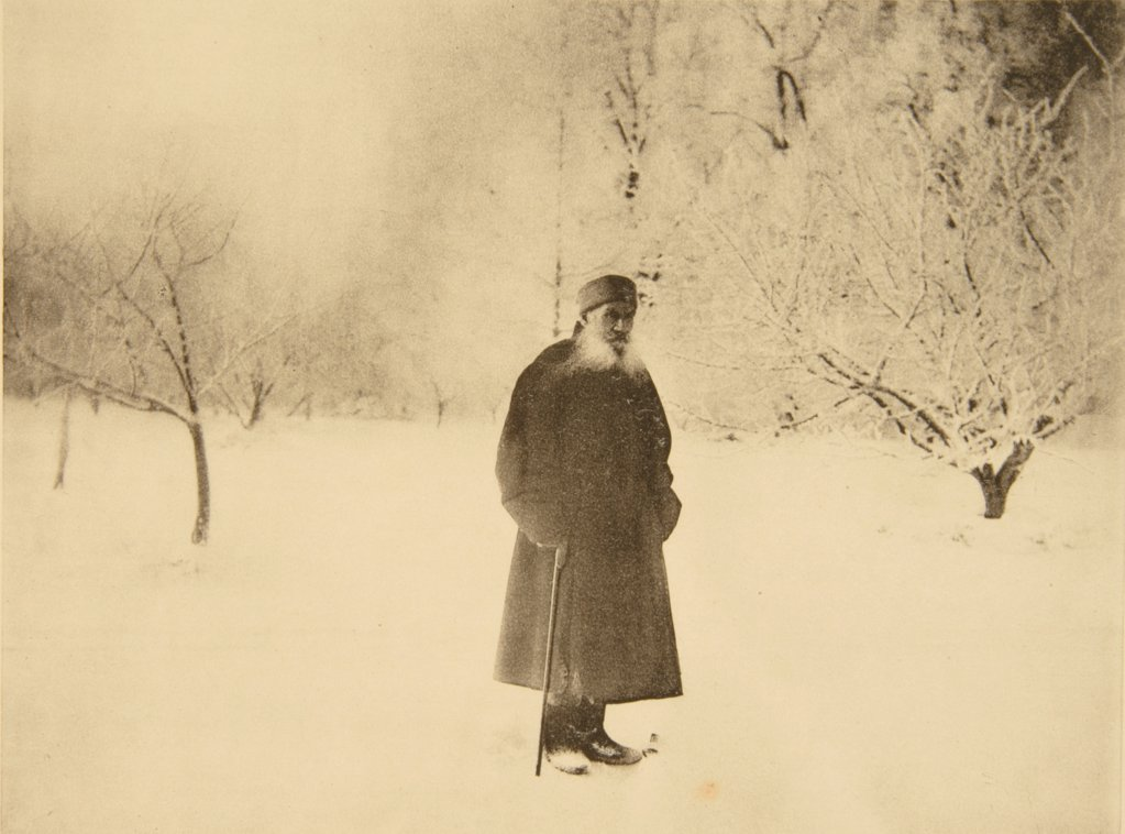 Stock Photo: 4266-18751 Winter walking of Leo Tolstoy by Tolstaya, Sophia Andreevna (1844-1919)/State Museum The Tolstoy's Estate Yasnaya Polyana/1900s/Albumin Photo/Russia/Genre