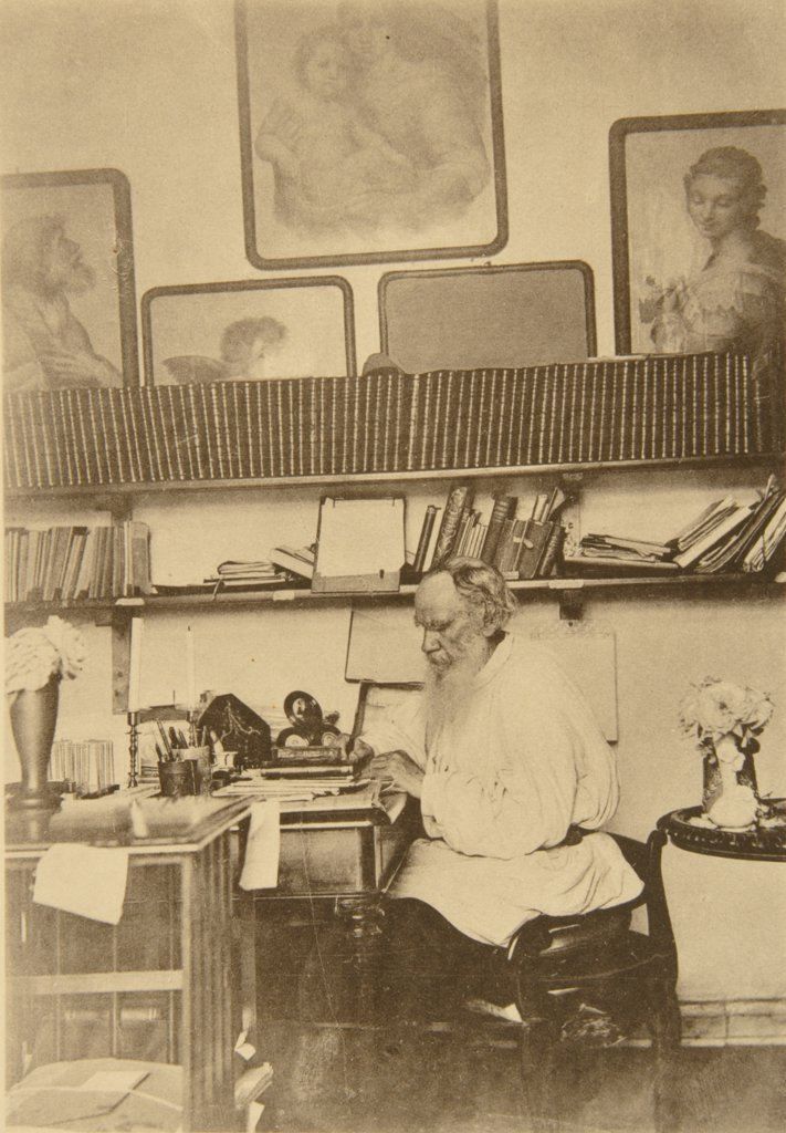 Stock Photo: 4266-18785 Leo Tolstoy at the work by Tolstaya, Sophia Andreevna (1844-1919)/State Museum of Leo Tolstoy, Moscow/1890s/Albumin Photo/Russia/Portrait,Genre