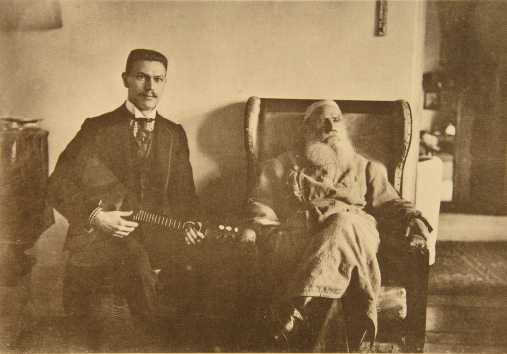 Leo Tolstoy with the Balalaika Player Boris Troyanovsky by Tolstaya, Sophia Andreevna (1844-1919)/State Museum The Tolstoy's Estate Yasnaya Polyana/1909/Albumin Photo/Russia/Portrait,Genre : Stock Photo
