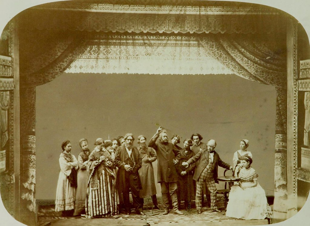 Stock Photo: 4266-18816 Theatre Group of the Folk Theatre by Russian Photographer  /The State Central A. Bakhrushin Theatre Museum, Moscow/1892/Albumin Photo/Russia/Opera, Ballet, Theatre