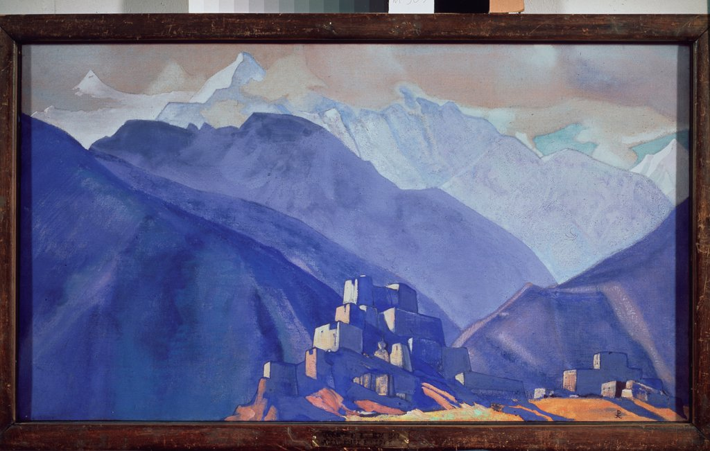 Stock Photo: 4266-18891 The Stranghild Monastery in the Himalayas by Roerich, Nicholas (1874-1947)/ State Tretyakov Gallery, Moscow/ 1931/ Russia/ Tempera on canvas/ Symbolism/ 44x79,5/ Landscape