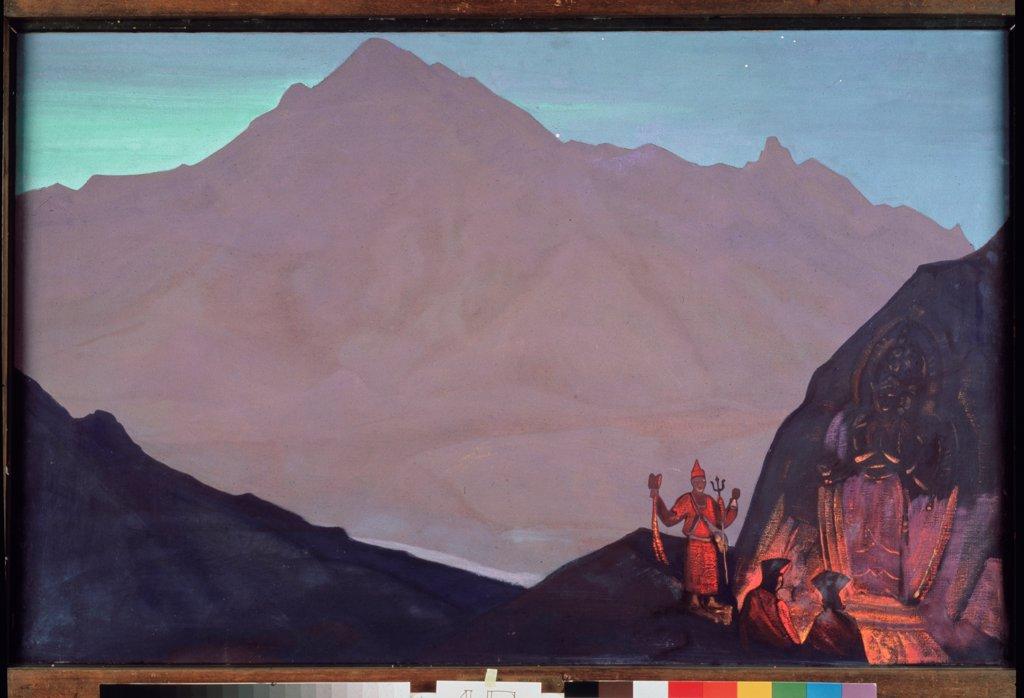 Chenrezig. West Tibet by Roerich, Nicholas (1874-1947)/ State Tretyakov Gallery, Moscow/ 1931/ Russia/ Tempera on canvas/ Symbolism/ 74x107/ Landscape : Stock Photo