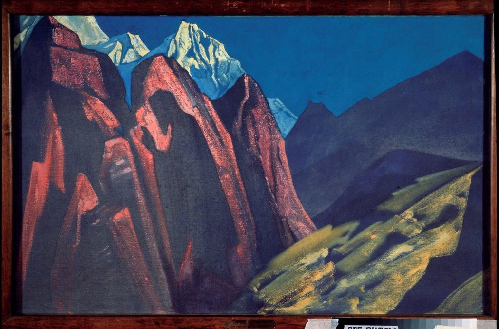 Stock Photo: 4266-18897 His Shadow (Shadow of the Teacher) by Roerich, Nicholas (1874-1947)/ State Tretyakov Gallery, Moscow/ 1932/ Russia/ Tempera on canvas/ Symbolism/ 74,5x117,5/ Landscape,Bible,Mythology, Allegory and Literature