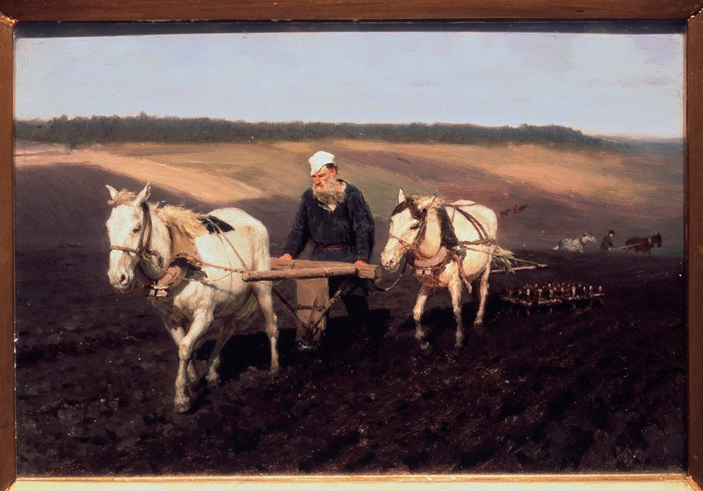 Stock Photo: 4266-18928 A ploughman. Leo Tolstoy at the field by Repin, Ilya Yefimovich (1844-1930)/ State Tretyakov Gallery, Moscow/ 1887/ Russia/ Oil on cardboard/ Russian Painting of 19th cen./ 27,8x40,3/ Portrait,Genre
