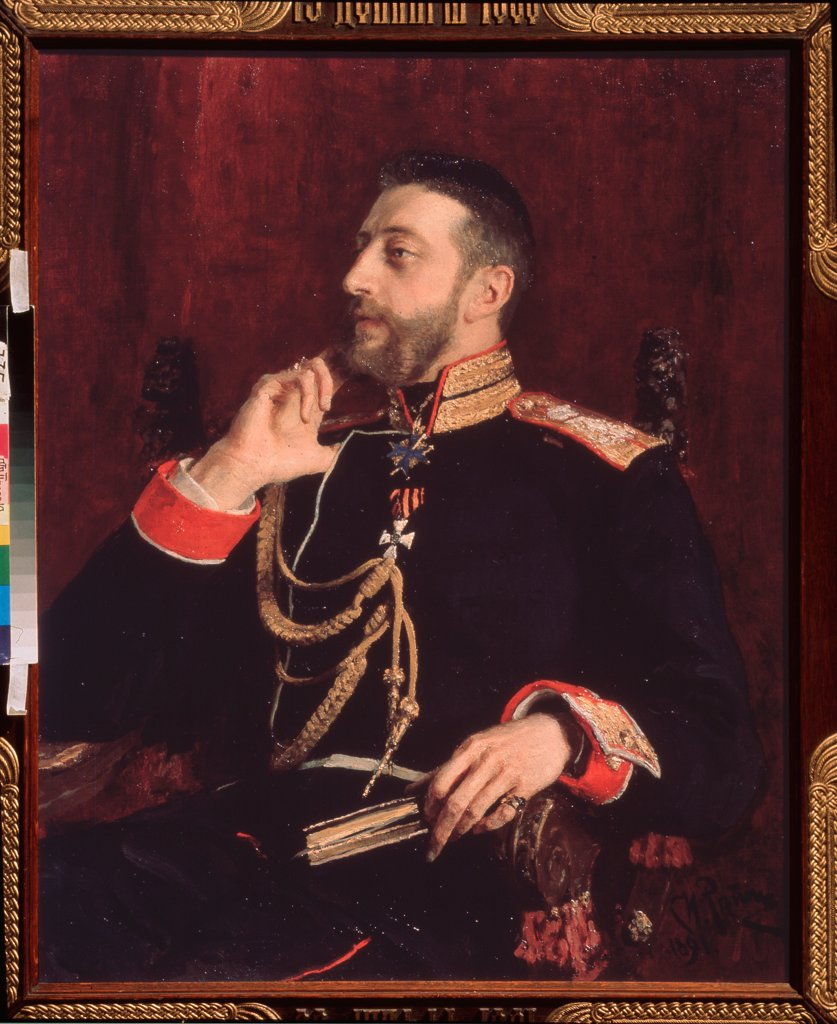 Stock Photo: 4266-18929 Portrait of the poet K.R. (Grand Duke Konstantin Konstantinovich of Russia) (1858-1915) by Repin, Ilya Yefimovich (1844-1930)/ State Tretyakov Gallery, Moscow/ 1891/ Russia/ Oil on canvas/ Russian Painting of 19th cen./ 93x76/ Portrait