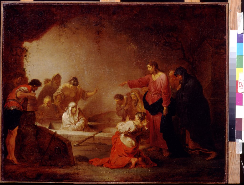 Stock Photo: 4266-18962 The Raising of Lazarus by Zick, Johann Rosso Januarius (1730-1797)/ State A. Pushkin Museum of Fine Arts, Moscow/ ca. 1783/ Germany/ Oil on canvas/ German Painting of 18th cen./ 56,5x71/ Bible
