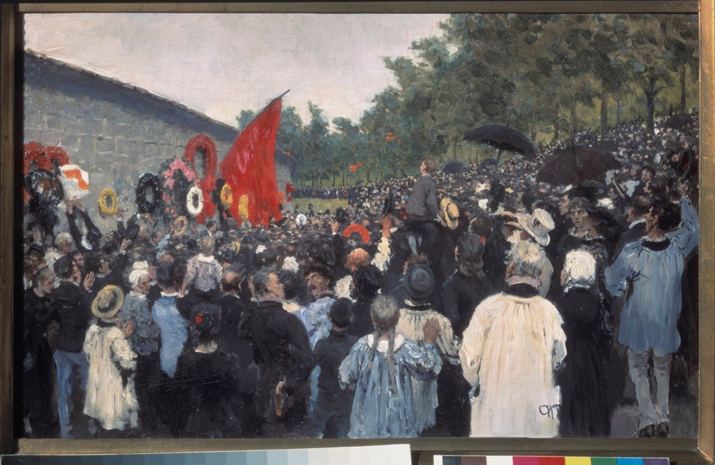Stock Photo: 4266-18998 The Annual Memorial Meeting at the Pere-Lachaise Cemetery in Paris by Repin, Ilya Yefimovich (1844-1930)/ State Tretyakov Gallery, Moscow/ 1883/ Russia/ Oil on canvas/ Russian Painting of 19th cen./ 36,8x59,8/ Genre