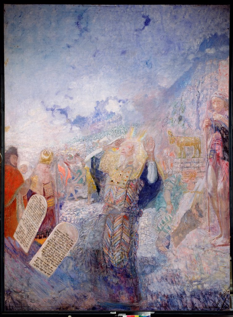 Stock Photo: 4266-19022 Moses with the Ten Commandments by Repin, Yury Ilyich (1877-1954)/ I. Repin Memorial Museum Penates near Sankt Petersburg/ 1930s/ Russia/ Oil on canvas/ Modern/ 323x240/ Bible